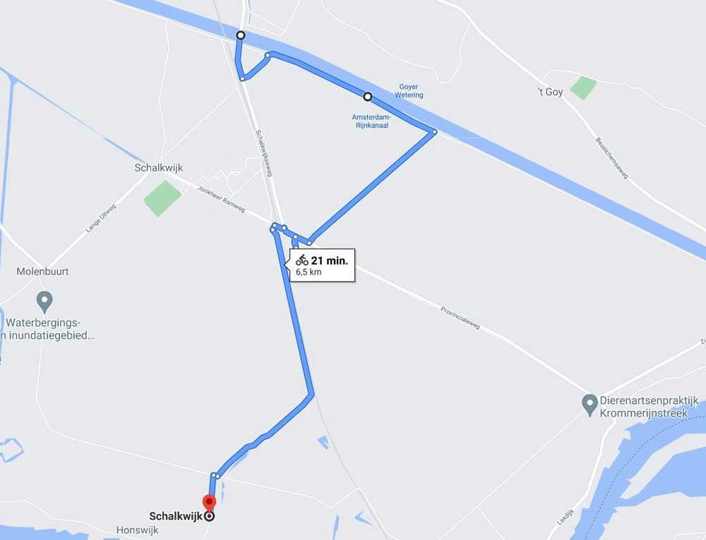 De route van TRAP Schalkwijk